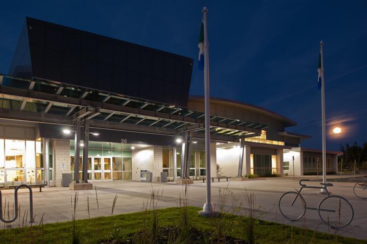 Canada Games Centre, exterior, main entrance